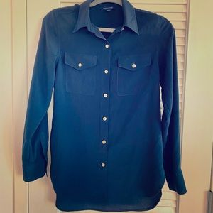 Classic Navy Blue Blouse with Gold Buttons